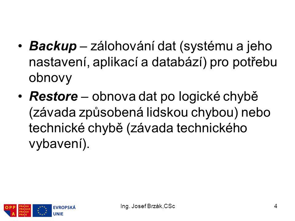 Ing. Josef Brzák,CSc4 Backup – zálohování dat (systému a jeho nastavení, aplikací a databází) pro potřebu obnovy Restore – obnova dat po logické chybě