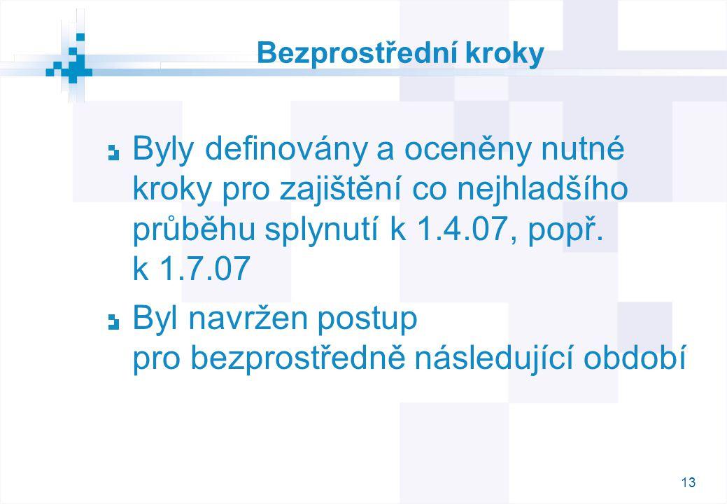 13 Bezprostřední kroky Byly definovány a oceněny nutné kroky pro zajištění co nejhladšího průběhu splynutí k 1.4.07, popř.