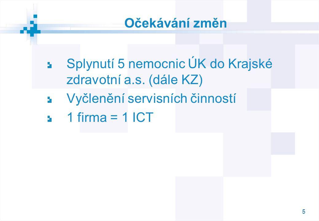 5 Očekávání změn Splynutí 5 nemocnic ÚK do Krajské zdravotní a.s.