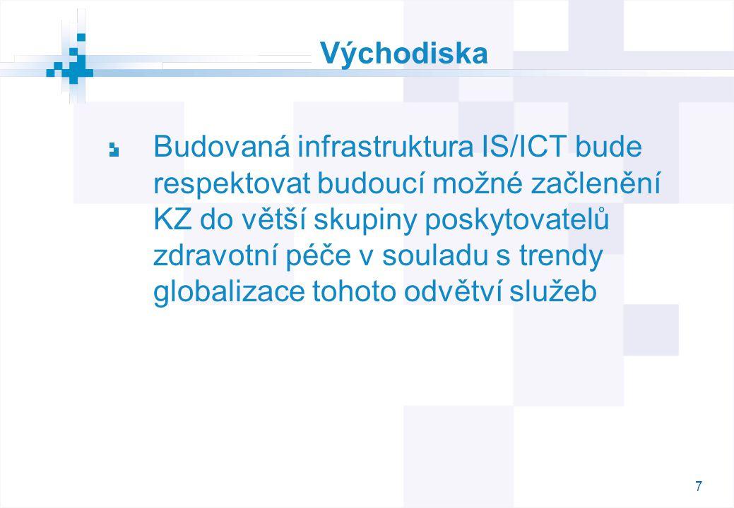 7 Východiska Budovaná infrastruktura IS/ICT bude respektovat budoucí možné začlenění KZ do větší skupiny poskytovatelů zdravotní péče v souladu s trendy globalizace tohoto odvětví služeb