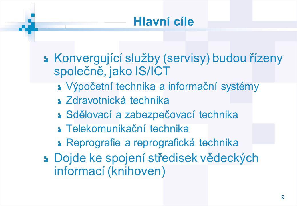 9 Hlavní cíle Konvergující služby (servisy) budou řízeny společně, jako IS/ICT Výpočetní technika a informační systémy Zdravotnická technika Sdělovací a zabezpečovací technika Telekomunikační technika Reprografie a reprografická technika Dojde ke spojení středisek vědeckých informací (knihoven)