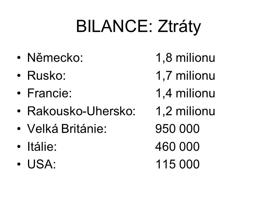 BILANCE: Ztráty Německo: 1,8 milionu Rusko: 1,7 milionu Francie: 1,4 milionu Rakousko-Uhersko: 1,2 milionu Velká Británie: 950 000 Itálie: 460 000 USA