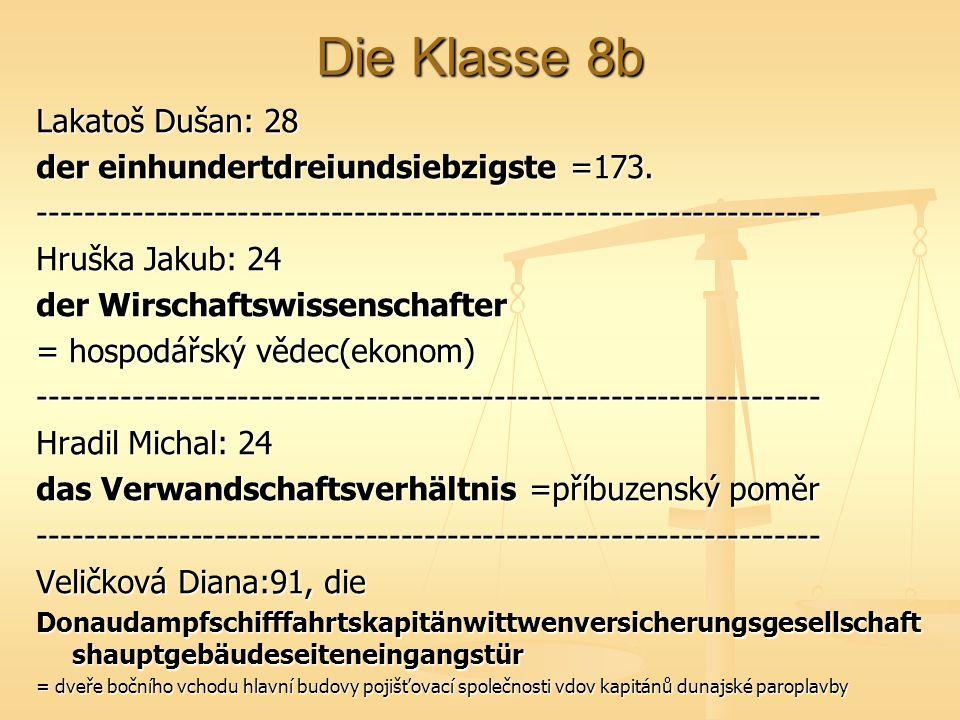 Die Klasse 8b Lakatoš Dušan: 28 der einhundertdreiundsiebzigste =173. ------------------------------------------------------------------- Hruška Jakub