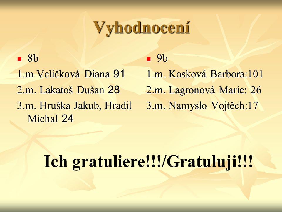 Vyhodnocení 8b 8b 1.m Veličková Diana 91 2.m.Lakatoš Dušan 28 3.m.