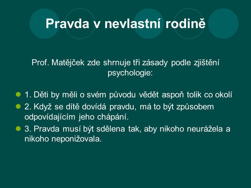 Pravda v nevlastní rodině Prof. Matějček zde shrnuje tři zásady podle zjištění psychologie: 1. Děti by měli o svém původu vědět aspoň tolik co okolí 2