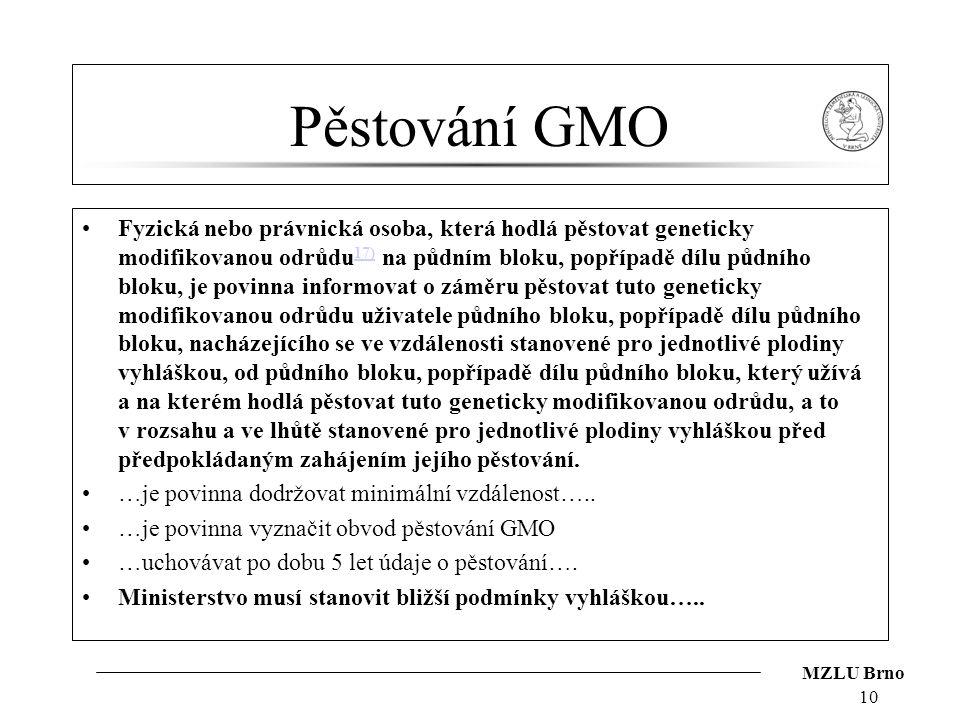 MZLU Brno Pěstování GMO Fyzická nebo právnická osoba, která hodlá pěstovat geneticky modifikovanou odrůdu 17) na půdním bloku, popřípadě dílu půdního
