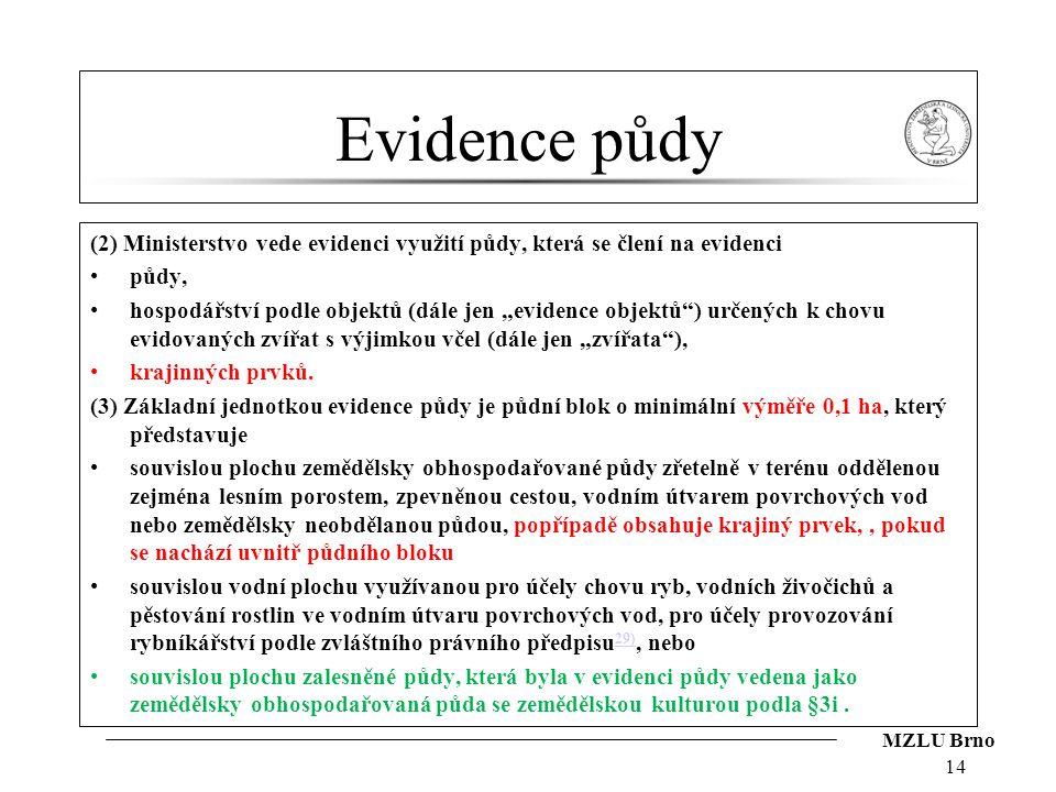"""MZLU Brno Evidence půdy (2) Ministerstvo vede evidenci využití půdy, která se člení na evidenci půdy, hospodářství podle objektů (dále jen """"evidence o"""