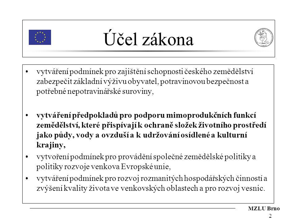 MZLU Brno 2 Účel zákona vytváření podmínek pro zajištění schopnosti českého zemědělství zabezpečit základní výživu obyvatel, potravinovou bezpečnost a
