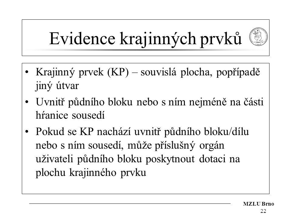 MZLU Brno Evidence krajinných prvků Krajinný prvek (KP) – souvislá plocha, popřípadě jiný útvar Uvnitř půdního bloku nebo s ním nejméně na části hŕani
