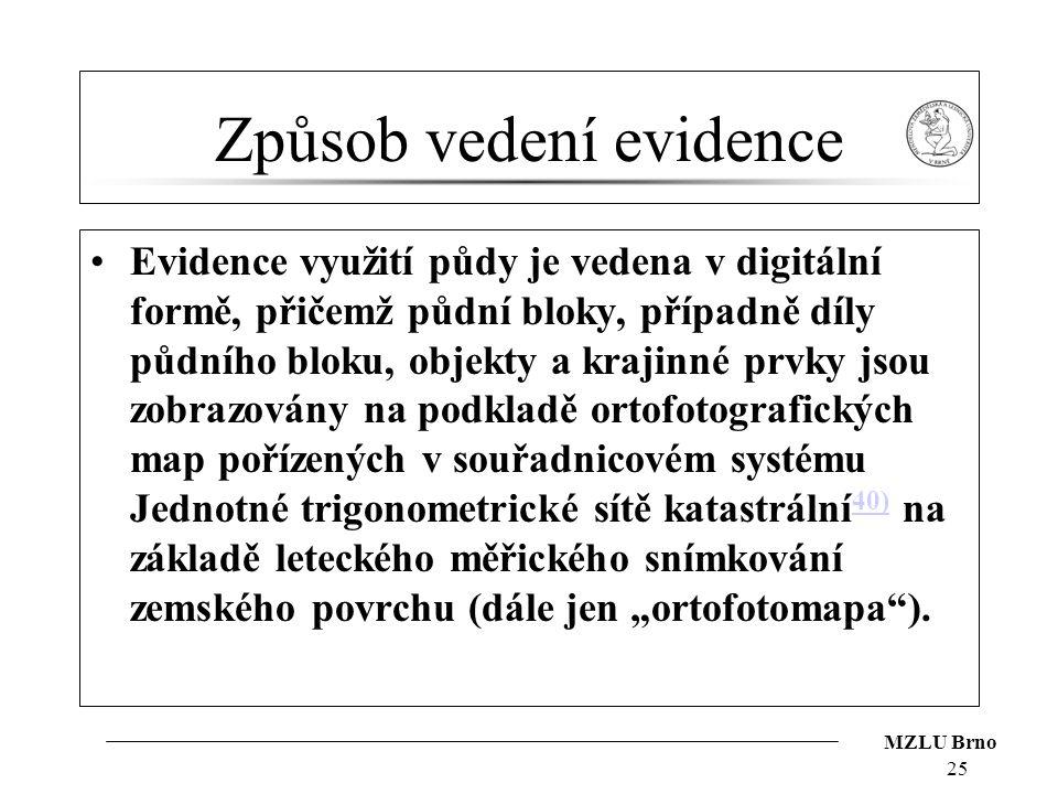 MZLU Brno Způsob vedení evidence Evidence využití půdy je vedena v digitální formě, přičemž půdní bloky, případně díly půdního bloku, objekty a krajin