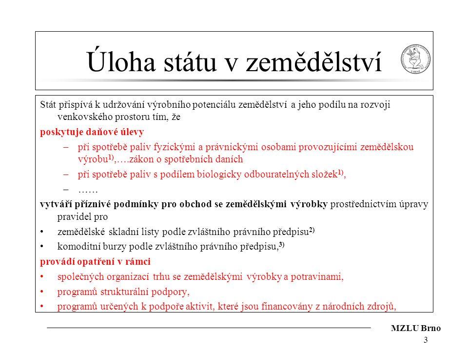 MZLU Brno Úloha státu v zemědělství Stát přispívá k udržování výrobního potenciálu zemědělství a jeho podílu na rozvoji venkovského prostoru tím, že p
