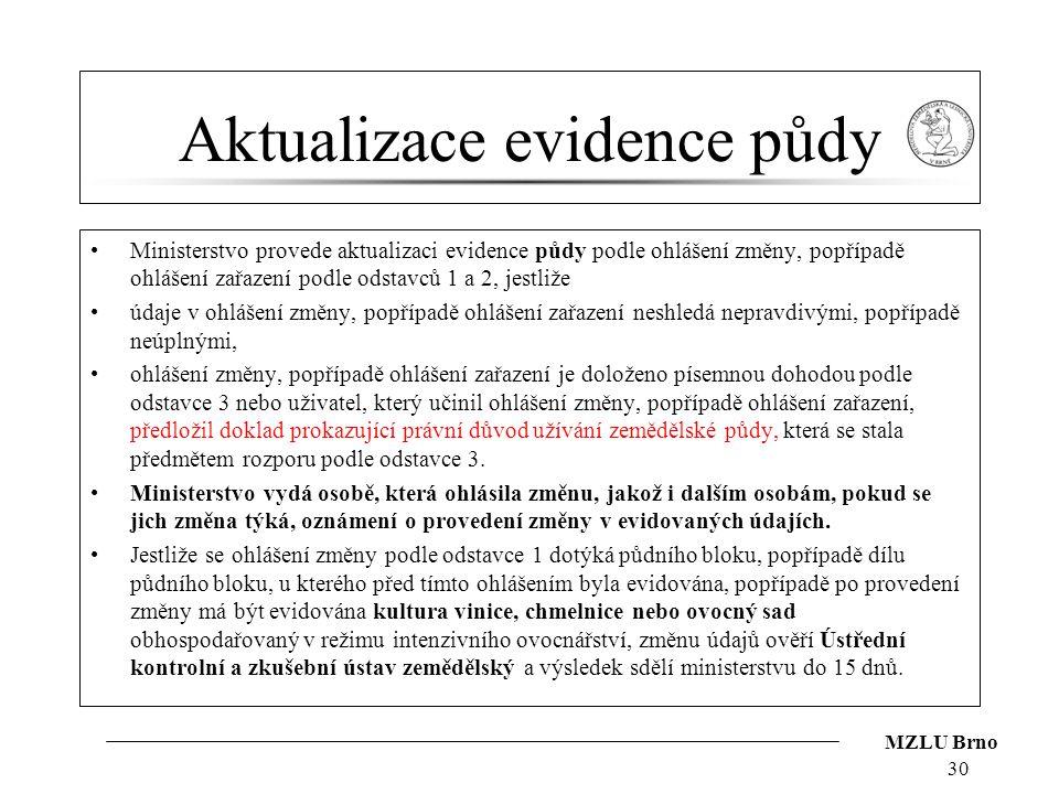 MZLU Brno Aktualizace evidence půdy Ministerstvo provede aktualizaci evidence půdy podle ohlášení změny, popřípadě ohlášení zařazení podle odstavců 1