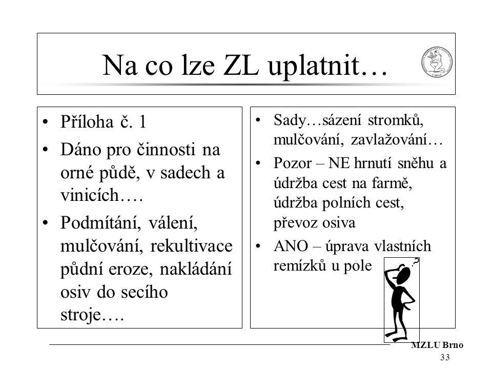 MZLU Brno Na co lze ZL uplatnit… Příloha č. 1 Dáno pro činnosti na orné půdě, v sadech a vinicích…. Podmítání, válení, mulčování, rekultivace půdní er