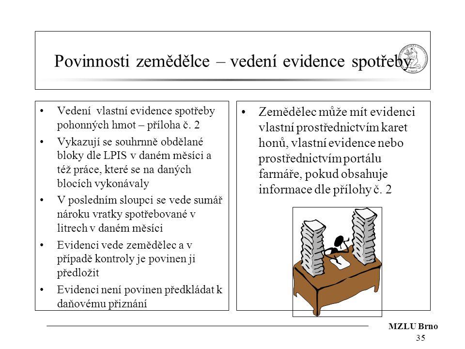 MZLU Brno Povinnosti zemědělce – vedení evidence spotřeby Vedení vlastní evidence spotřeby pohonných hmot – příloha č. 2 Vykazují se souhrnně obdělané