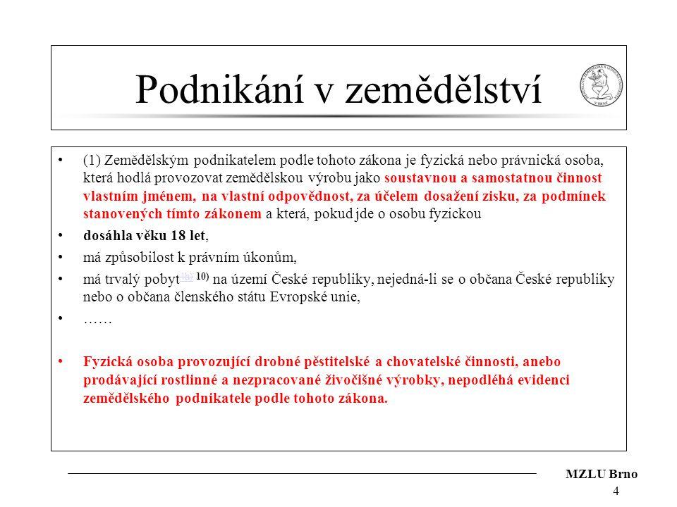 MZLU Brno Podnikání v zemědělství (1) Zemědělským podnikatelem podle tohoto zákona je fyzická nebo právnická osoba, která hodlá provozovat zemědělskou