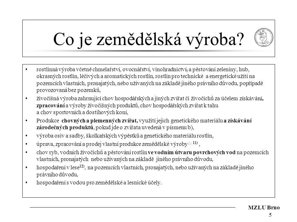 MZLU Brno Co je zemědělská výroba? rostlinná výroba včetně chmelařství, ovocnářství, vinohradnictví, a pěstování zeleniny, hub, okrasných rostlin, léč