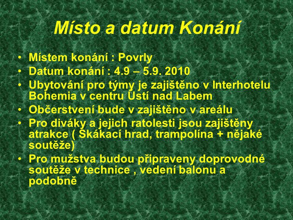 Místo a datum Konání Místem konání : Povrly Datum konání : 4.9 – 5.9. 2010 Ubytování pro týmy je zajištěno v Interhotelu Bohemia v centru Ústí nad Lab