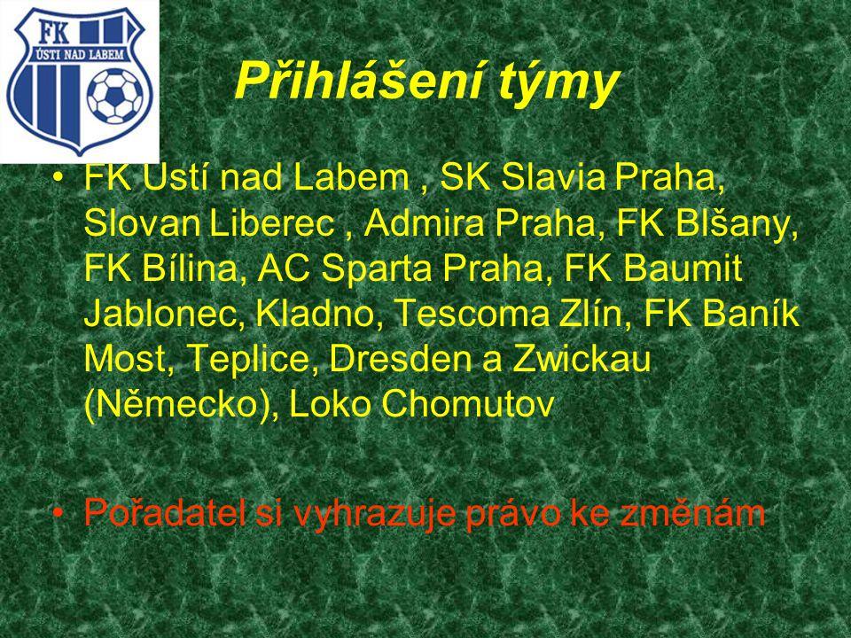 Přihlášení týmy FK Ústí nad Labem, SK Slavia Praha, Slovan Liberec, Admira Praha, FK Blšany, FK Bílina, AC Sparta Praha, FK Baumit Jablonec, Kladno, T