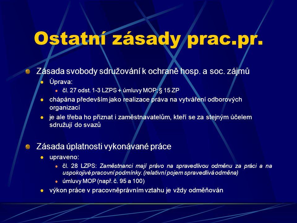 Ostatní zásady prac.pr. Zásada svobody sdružování k ochraně hosp. a soc. zájmů Úprava: čl. 27 odst. 1-3 LZPS + úmluvy MOP; § 15 ZP chápána především j