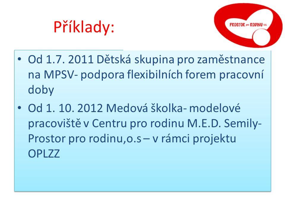 Příklady: raxe: Od 1.7. 2011 Dětská skupina pro zaměstnance na MPSV- podpora flexibilních forem pracovní doby Od 1. 10. 2012 Medová školka- modelové p