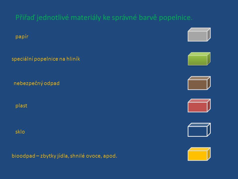 Jaký odpad nejčastěji třídíme? Vyjmenuj tři druhy materiálu, které se v českých domácnostech nejčastěji vyhazují do speciálních, barevných popelnic.