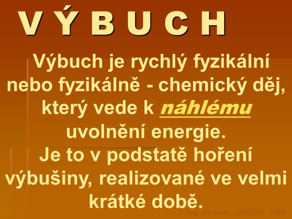 V Ý B U C H Výbuch je rychlý fyzikální nebo fyzikálně - chemický děj, který vede k náhlému uvolnění energie. Je to v podstatě hoření výbušiny, realizo