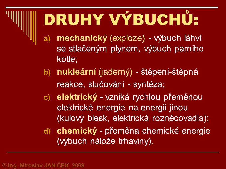 DRUHY VÝBUCHŮ: a) mechanický (exploze) - výbuch láhví se stlačeným plynem, výbuch parního kotle; b) nukleární (jaderný) - štěpení-štěpná reakce, slučo