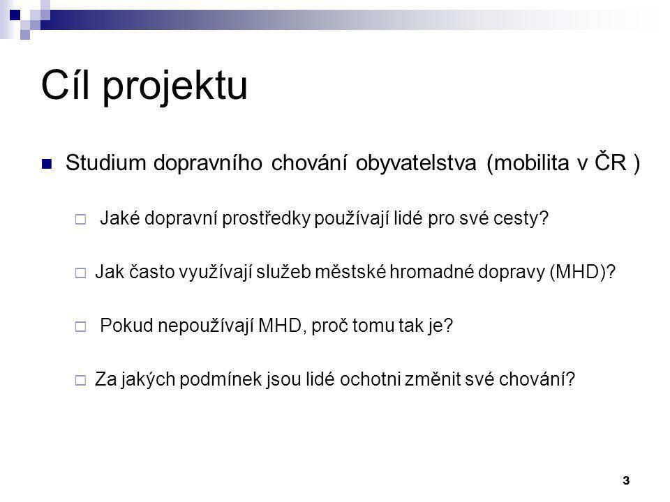 3 Cíl projektu Studium dopravního chování obyvatelstva (mobilita v ČR )  Jaké dopravní prostředky používají lidé pro své cesty?  Jak často využívají