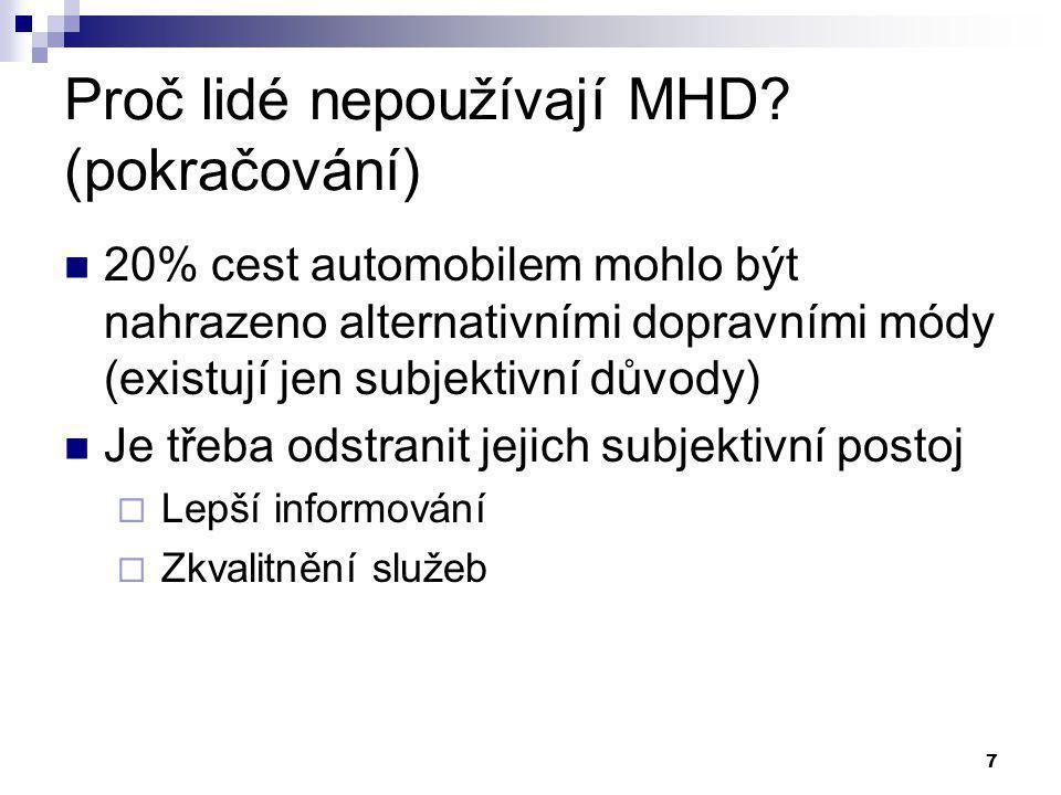7 Proč lidé nepoužívají MHD? (pokračování) 20% cest automobilem mohlo být nahrazeno alternativními dopravními módy (existují jen subjektivní důvody) J