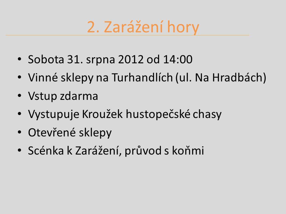 2. Zarážení hory Sobota 31. srpna 2012 od 14:00 Vinné sklepy na Turhandlích (ul.