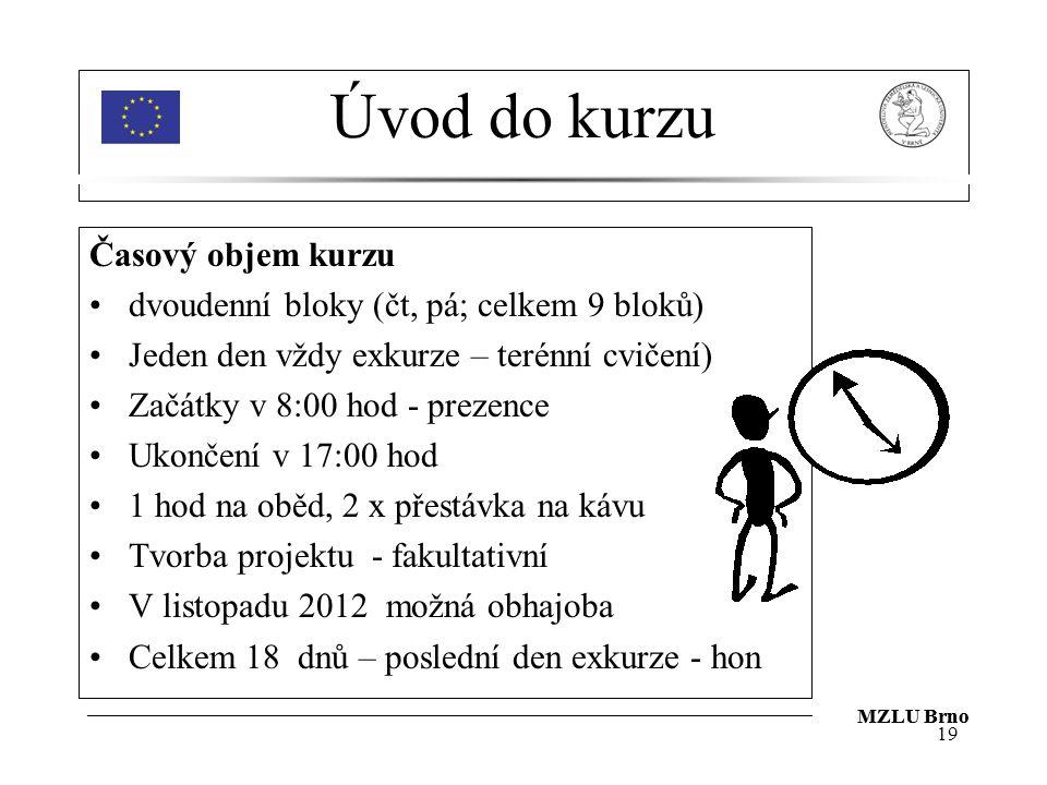 MZLU Brno Úvod do kurzu Časový objem kurzu dvoudenní bloky (čt, pá; celkem 9 bloků) Jeden den vždy exkurze – terénní cvičení) Začátky v 8:00 hod - prezence Ukončení v 17:00 hod 1 hod na oběd, 2 x přestávka na kávu Tvorba projektu - fakultativní V listopadu 2012 možná obhajoba Celkem 18 dnů – poslední den exkurze - hon 19 MZLU Brno