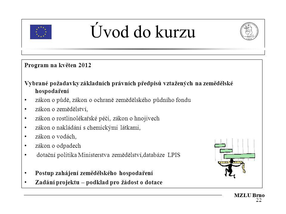 Úvod do kurzu Program na květen 2012 Vybrané požadavky základních právních předpisů vztažených na zemědělské hospodaření zákon o půdě, zákon o ochraně