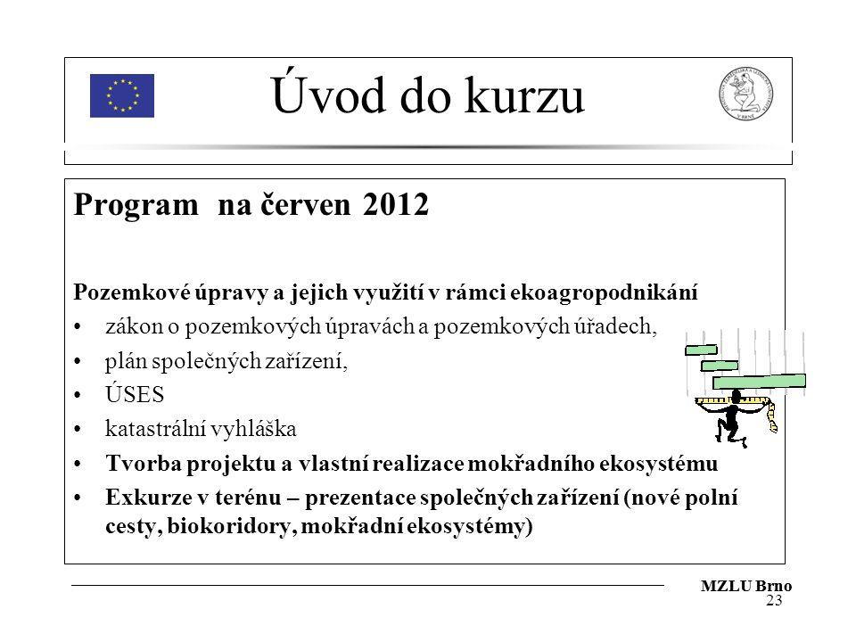 Úvod do kurzu Program na červen 2012 Pozemkové úpravy a jejich využití v rámci ekoagropodnikání zákon o pozemkových úpravách a pozemkových úřadech, plán společných zařízení, ÚSES katastrální vyhláška Tvorba projektu a vlastní realizace mokřadního ekosystému Exkurze v terénu – prezentace společných zařízení (nové polní cesty, biokoridory, mokřadní ekosystémy) 23 MZLU Brno