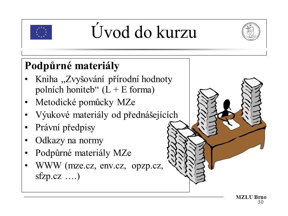 """Úvod do kurzu Podpůrné materiály Kniha """"Zvyšování přírodní hodnoty polních honiteb"""" (L + E forma) Metodické pomůcky MZe Výukové materiály od přednášej"""