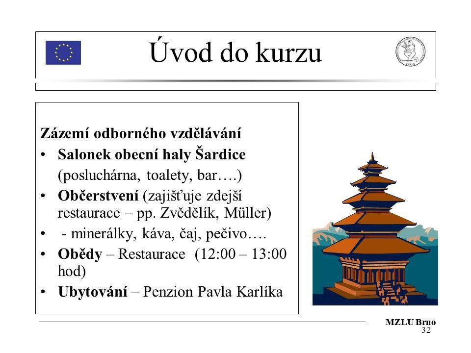 MZLU Brno Úvod do kurzu Zázemí odborného vzdělávání Salonek obecní haly Šardice (posluchárna, toalety, bar….) Občerstvení (zajišťuje zdejší restaurace – pp.