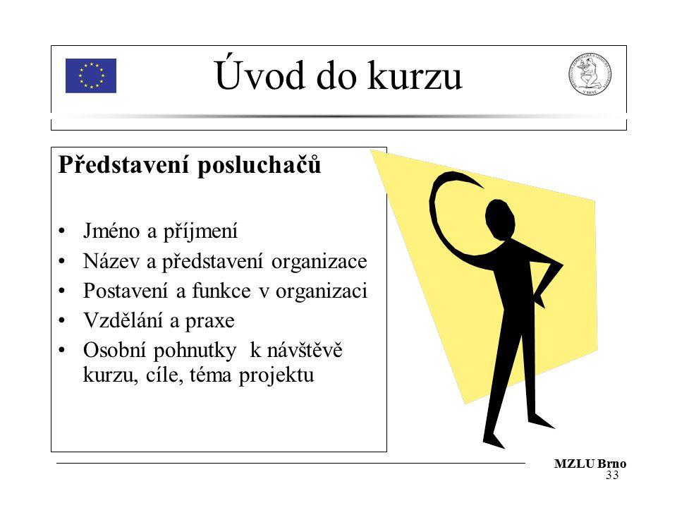 Úvod do kurzu Představení posluchačů Jméno a příjmení Název a představení organizace Postavení a funkce v organizaci Vzdělání a praxe Osobní pohnutky k návštěvě kurzu, cíle, téma projektu 33 MZLU Brno