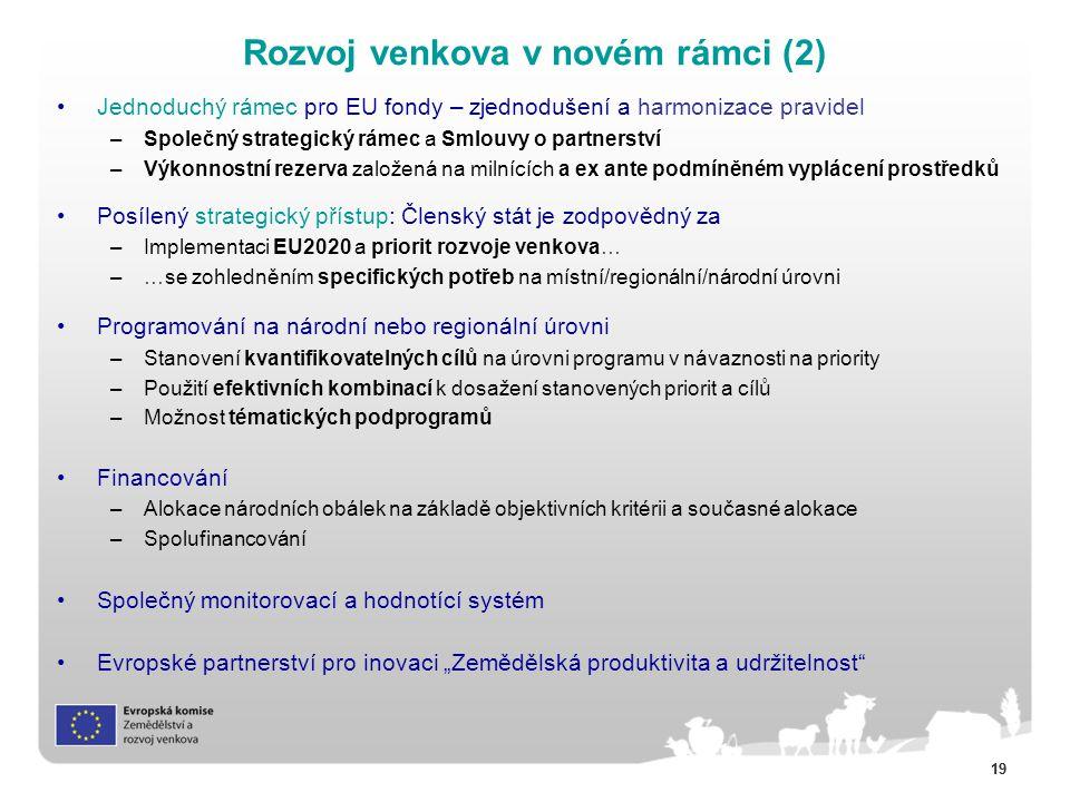 """19 Jednoduchý rámec pro EU fondy – zjednodušení a harmonizace pravidel –Společný strategický rámec a Smlouvy o partnerství –Výkonnostní rezerva založená na milnících a ex ante podmíněném vyplácení prostředků Posílený strategický přístup: Členský stát je zodpovědný za –Implementaci EU2020 a priorit rozvoje venkova… –…se zohledněním specifických potřeb na místní/regionální/národní úrovni Programování na národní nebo regionální úrovni –Stanovení kvantifikovatelných cílů na úrovni programu v návaznosti na priority –Použití efektivních kombinací k dosažení stanovených priorit a cílů –Možnost tématických podprogramů Financování –Alokace národních obálek na základě objektivních kritérii a současné alokace –Spolufinancování Společný monitorovací a hodnotící systém Evropské partnerství pro inovaci """"Zemědělská produktivita a udržitelnost Rozvoj venkova v novém rámci (2)"""