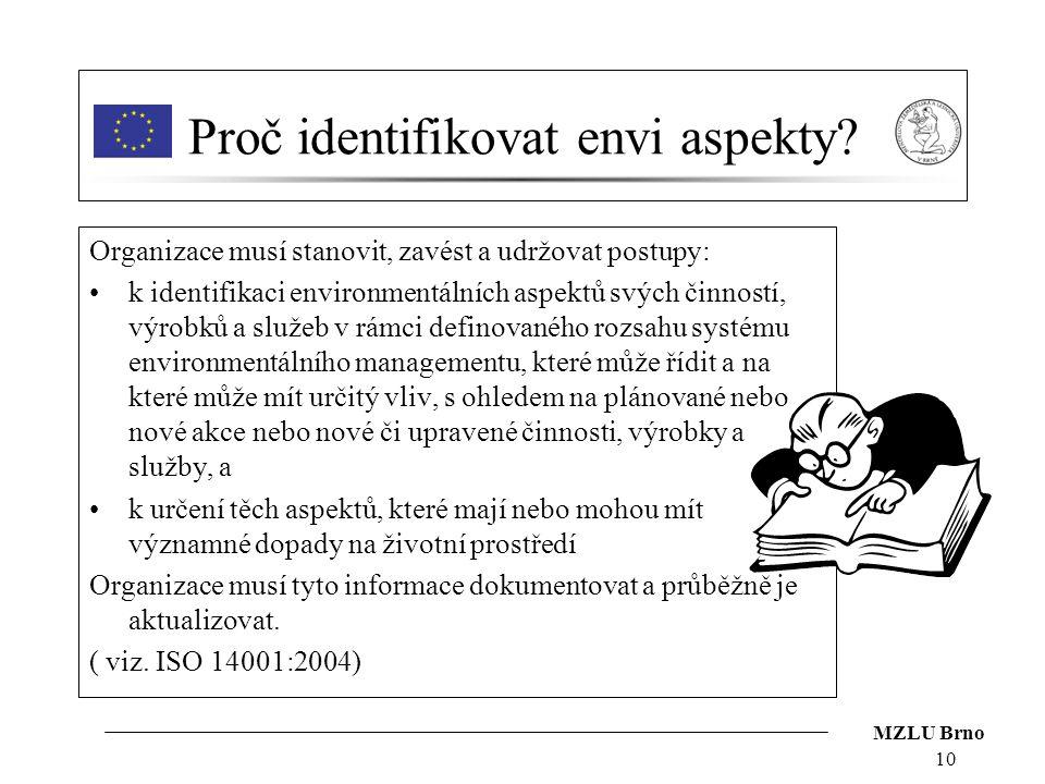 MZLU Brno 10 Proč identifikovat envi aspekty? Organizace musí stanovit, zavést a udržovat postupy: k identifikaci environmentálních aspektů svých činn