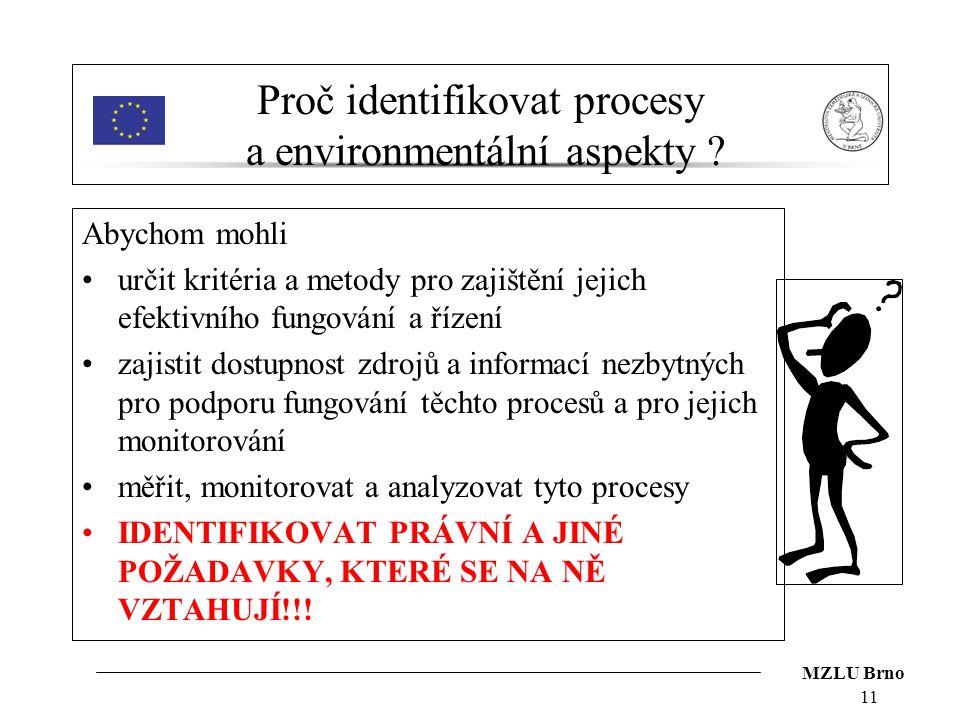 MZLU Brno 11 Proč identifikovat procesy a environmentální aspekty ? Abychom mohli určit kritéria a metody pro zajištění jejich efektivního fungování a