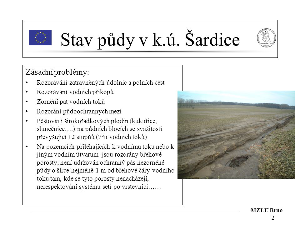 MZLU Brno 2 Stav půdy v k.ú. Šardice Zásadní problémy: Rozorávání zatravněných údolnic a polních cest Rozorávání vodních příkopů Zornění pat vodních t
