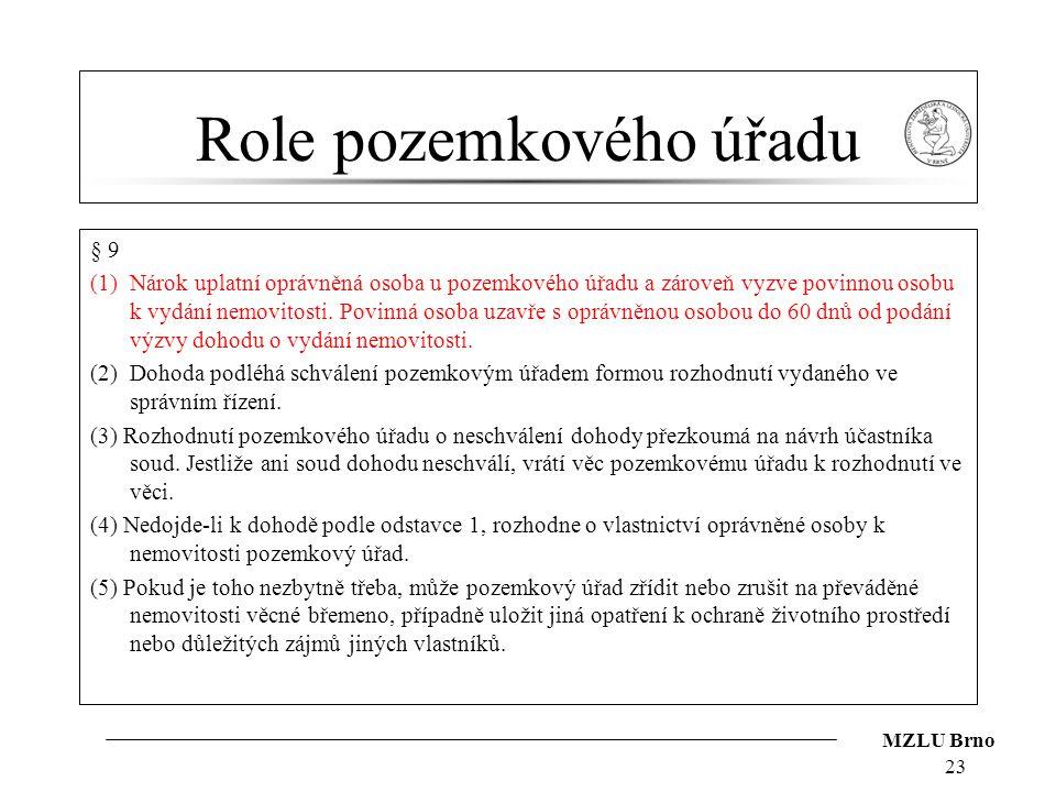 MZLU Brno Role pozemkového úřadu § 9 (1)Nárok uplatní oprávněná osoba u pozemkového úřadu a zároveň vyzve povinnou osobu k vydání nemovitosti. Povinná