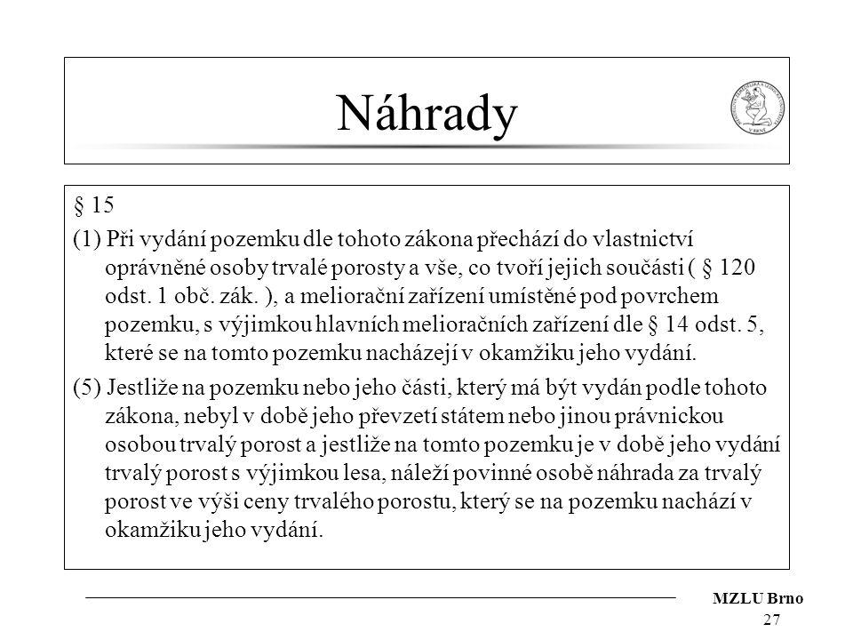 MZLU Brno Náhrady § 15 (1) Při vydání pozemku dle tohoto zákona přechází do vlastnictví oprávněné osoby trvalé porosty a vše, co tvoří jejich součásti