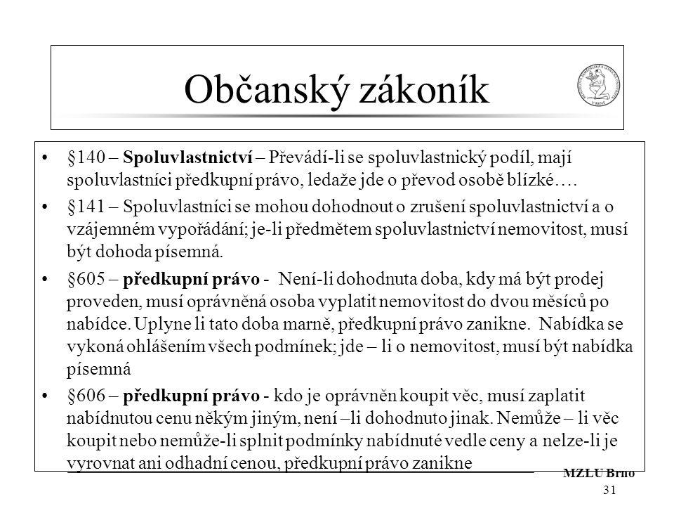MZLU Brno Občanský zákoník §140 – Spoluvlastnictví – Převádí-li se spoluvlastnický podíl, mají spoluvlastníci předkupní právo, ledaže jde o převod oso