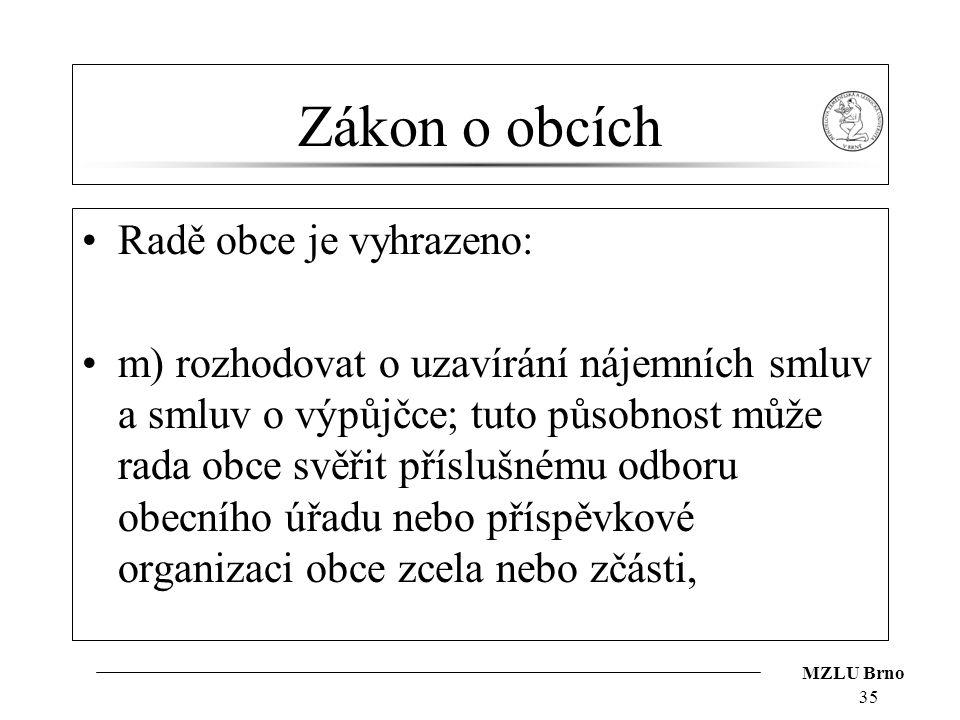 MZLU Brno Zákon o obcích Radě obce je vyhrazeno: m) rozhodovat o uzavírání nájemních smluv a smluv o výpůjčce; tuto působnost může rada obce svěřit př