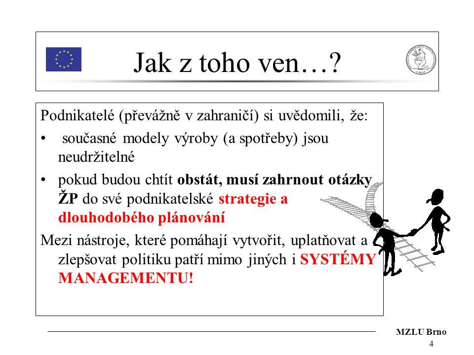 MZLU Brno 4 Jak z toho ven…? Podnikatelé (převážně v zahraničí) si uvědomili, že: současné modely výroby (a spotřeby) jsou neudržitelné pokud budou ch