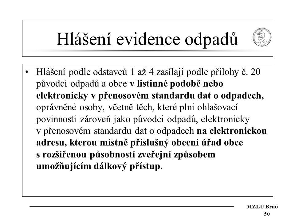 MZLU Brno Hlášení evidence odpadů Hlášení podle odstavců 1 až 4 zasílají podle přílohy č. 20 původci odpadů a obce v listinné podobě nebo elektronicky