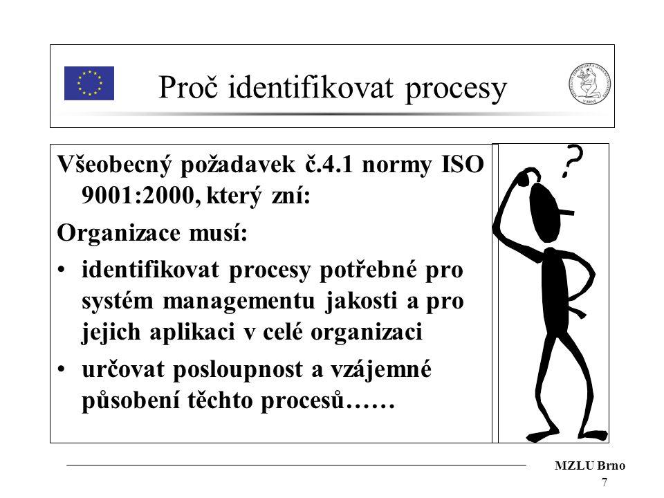MZLU Brno 7 Proč identifikovat procesy Všeobecný požadavek č.4.1 normy ISO 9001:2000, který zní: Organizace musí: identifikovat procesy potřebné pro s