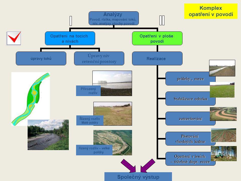 Analýzy Povod. rizika, mapování toků, niv, analýzy plochy povodí Opatření na tocích a nivách úpravy toků Úpravy niv retenční prostory Opatření v ploše