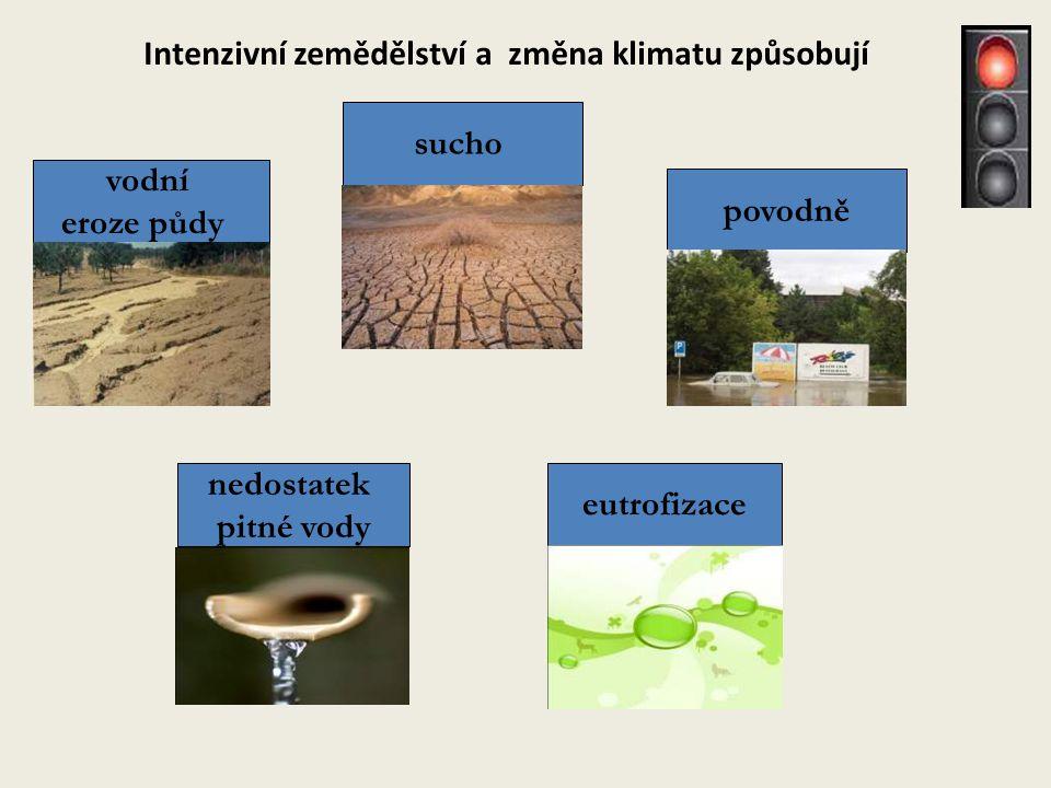 povodně eutrofizace vodní eroze půdy sucho Intenzivní zemědělství a změna klimatu způsobují nedostatek pitné vody