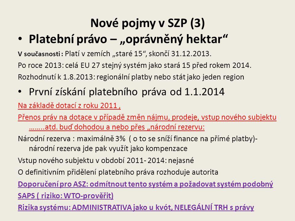 """Složení přímé platby Místo jedné platby SAPS rozdělení do 6- ti plateb 1.Základní platba = výpočet: co zbyde po odečtení plateb 2-6 2.""""Zelená platba ………30%, povinná 3.Platba za přírodní znevýhodnění …do 5%, dobrovolná 4.Platba mladým farmářům k základní platbě..2% povinná 5.Systém plateb spojených s produkcí …do 10% dobrovolný 6.Zjednodušené schéma pro malé farmy..do 10%, zavedení povinné, pro zemědělce dobrovolné"""